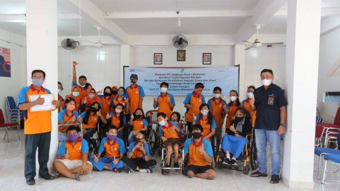 HUT Angkasa Pura I, Bandara I Gusti Ngurah Rai Berbagi Kasih ke Yayasan Pembinaan Anak Cacat Bali