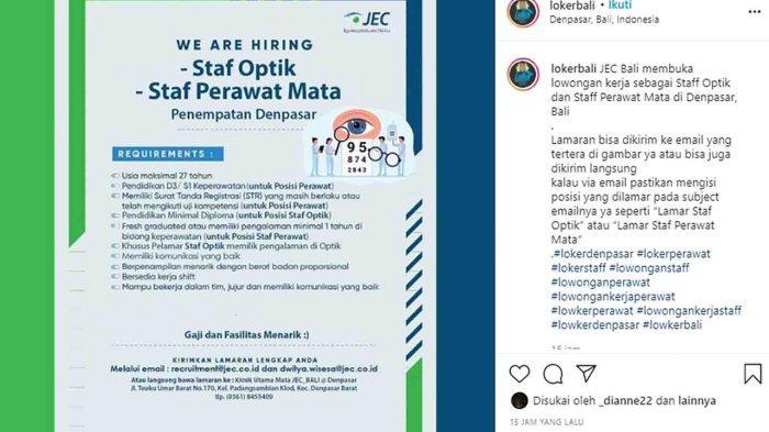 Lowongan Kerja di Denpasar, Klinik Utama Mata JEC Bali Membutuhkan Staf Optik dan Staf Perawat Mata