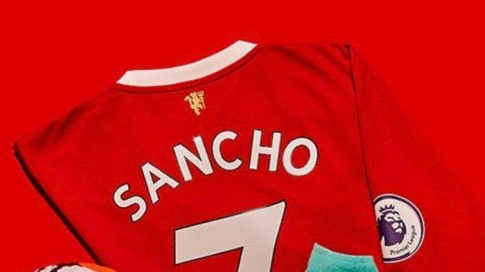 Foto Jersey Jadon Sancho di Manchester United dengan nomor punggung 7 sudah diterbitkan dan dijual.