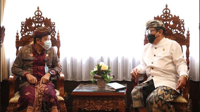 Kakanwil Kemenkumham Bali Temui Wagub Cok Ace Bahas Pengawasan Protokol Kesehatan WNA