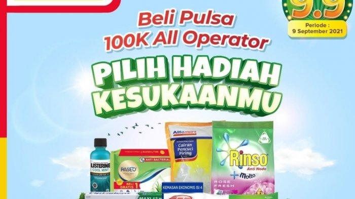 KHUSUS HARI INI, Promo Kejutan 9.9 Alfamart, Cashback 15.000, Gratis Rinso dan Sabun, Produk 5.000an