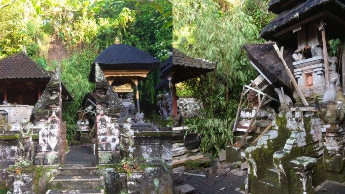 Akibat Hujan Deras, Tanah Longsor Menimpa Bangunan Pura Pasiraman Kangin di Desa Kekeran Badung
