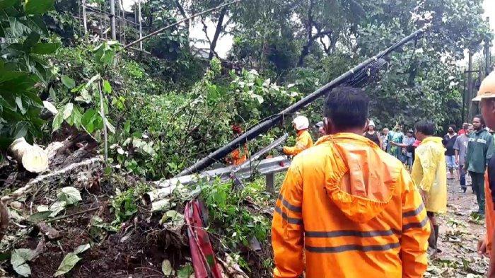Foto : Kondisi peristiwa tanah longsor yang terjadi di Desa Bajera, Kecamatan Selemadeg, Tabanan, Sabtu (10/10/2020).