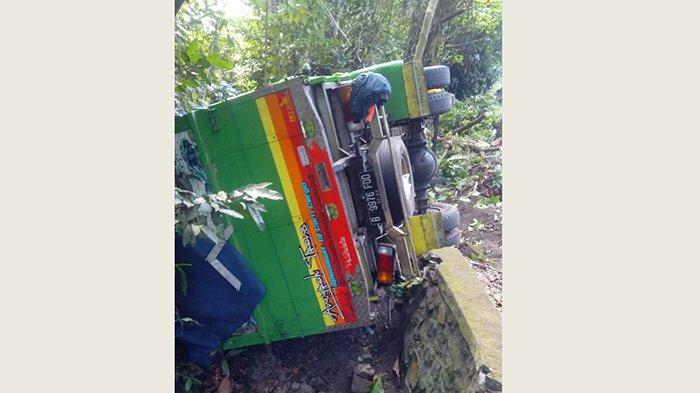 Truk Bermuatan Jagung Terjun ke Kebun Warga di Selemadeg Tabanan, Diduga Sopir Mengantuk
