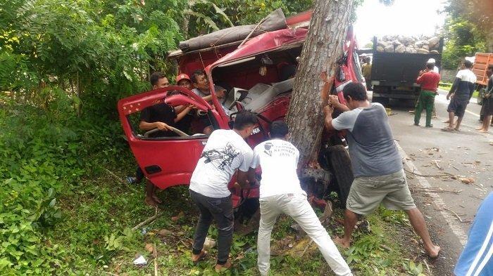 Ban Pecah Sebabkan Oleng, Truk Tabrak Pohon Perindang di Melaya