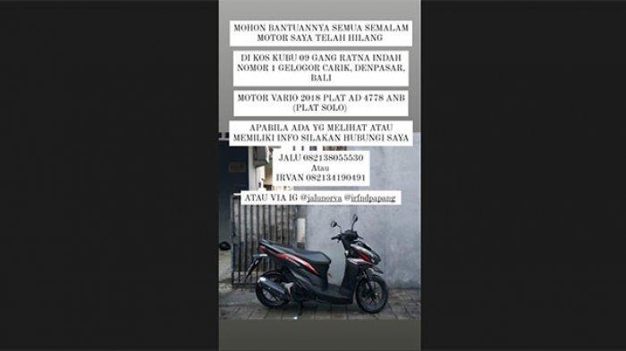 Ditinggal WFH dari Solo, Dosen Unud Jadi Korban Pencurian Sepeda Motor di Kosnya Wilayah Denpasar