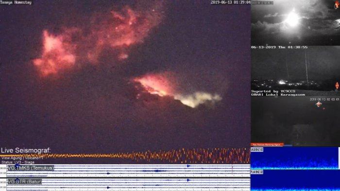 Gunung Agung KembaliErupsi Dinihari Tadi, Terlihat Lontaran Material Pijar Capai 700 Meter