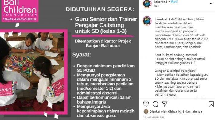 Lowongan Kerja di Bali Utara, Bali Children Foundation Membutuhkan Guru Senior Pengajar Calistung