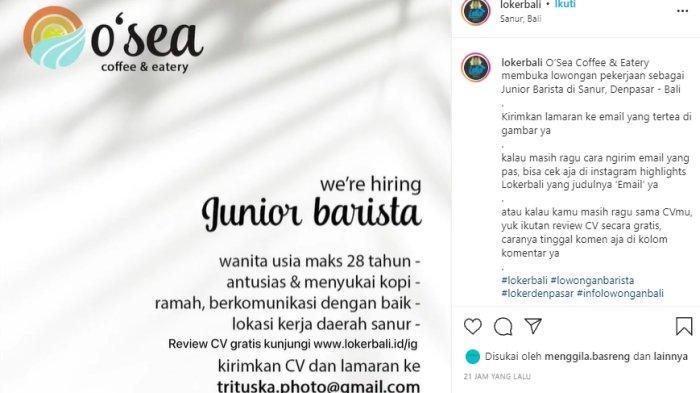 Lowongan Kerja di Denpasar, O'Sea Coffee & Eatery Junior Barista Wanita