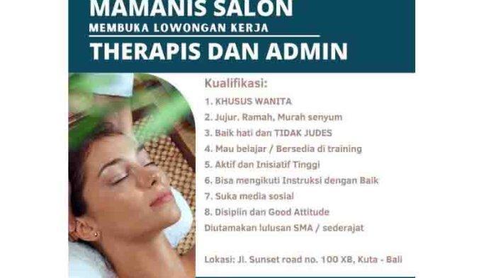 Lowongan Kerja Lulusan SMA/SMK di Badung, Mamanis Salon Membutuhkan Therapis dan Admin