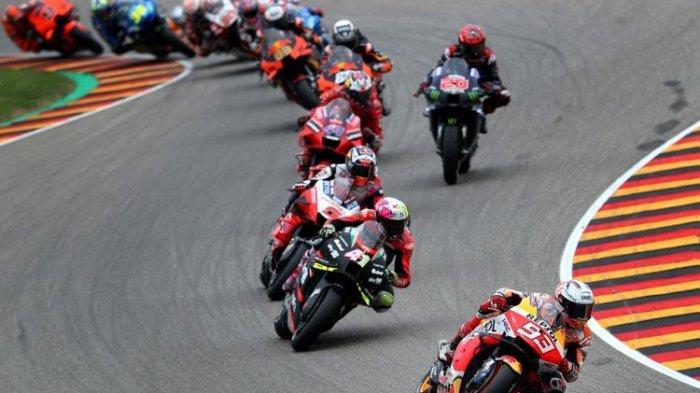 Marc Marquez saat balapan pada MotoGP Jerman 2021.