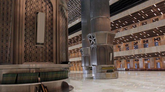 Penampakan Masjid Istiqlal Jakarta setelah direnovasi besar-besaran oleh Kementerian PUPR dengan biaya Rp 475 miliar saat diabadikan Senin 22 Februari 2021.