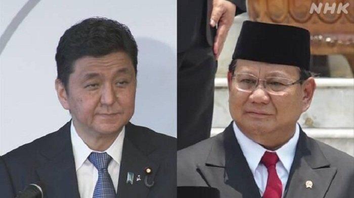 Menteri Pertahanan Jepang Nobuo Kishi dan Menteri Pertahanan RI Prabowo Subianto (kanan).