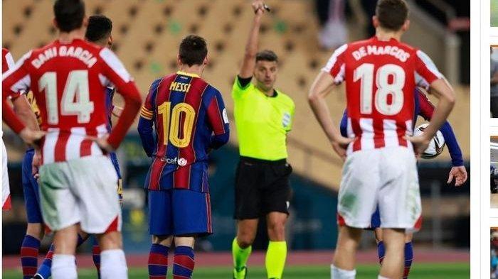 Messi ketika diganjar kartu merah pada pertandingan melawan Athletic Bilbao, Senin, 18 Januari 2021 dini hari WIB.