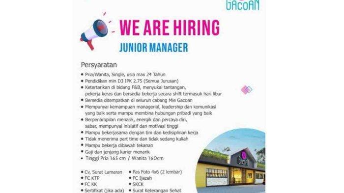 Lowongan Kerja di Denpasar, Mie Gacoan Membutuhkan Junior Manager Pria atau Wanita