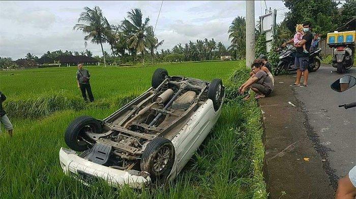 Lewati Jalan Berkabut dan Hujan Lebat, Taksi Online Nyungsep ke Sawah di Tampaksiring Gianyar Bali