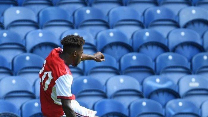 Momen ajaib Nuno Tavares mencetak gol debut bersama Arsenal ke gawang Rangers, Sabtu (18/7/2021)