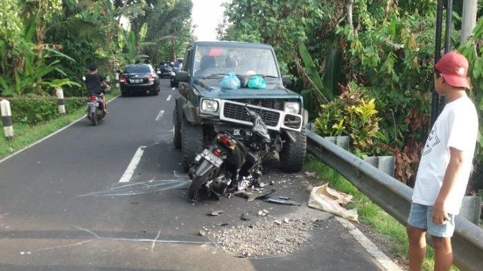 Motor dan Feroza Adu Jangkrik di Penebel Tabanan, Satu Orang Meninggal di TKP, Luka Parah di Kepala