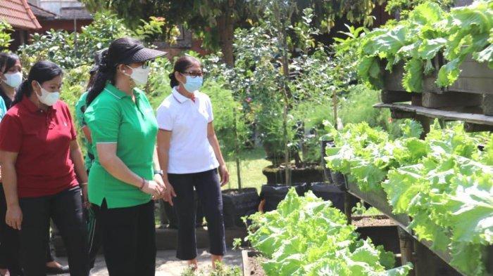 Ny. Rai Wahyuni Sanjaya Lakukan Monitoring PercontohanHATINYA PKK di Desa Beraban dan Desa Baturiti