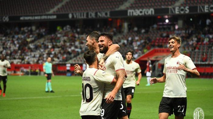 Striker baru AC Milan, Olivier Giroud usai mencetak gol penyeimbang saat AC Milan vs Nice pada Minggu, 1 Agustus 2021. Skor akhir 1-1.