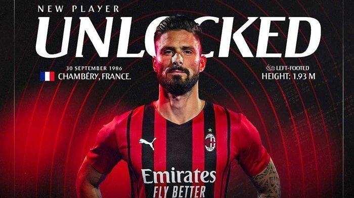 Olivier Giroud resmi diperkenalkan sebagai pemain anyar AC Milan, Sabtu (17/7/2021) sore WIB