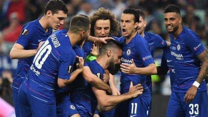 Olivier Giroud merayakan gol bersama rekan-rekannya pada laga Chelsea vs Arsenal dalam final Liga Europa di Stadion Olimpiade Baku, Azerbaijan, 29 Mei 2019.