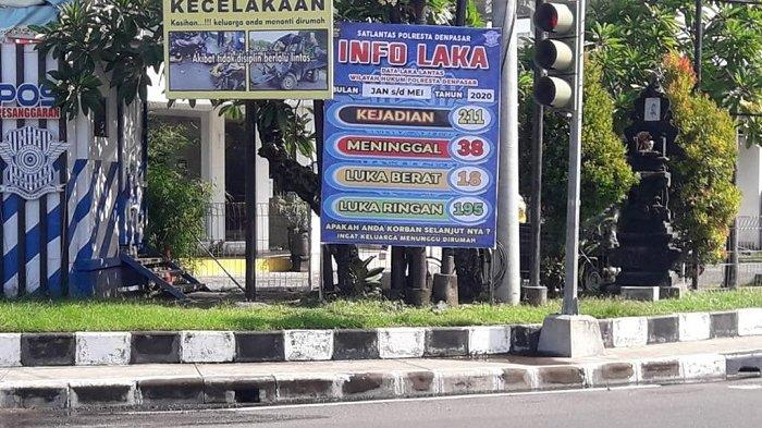 Redam Angka Kecelakaan, Kasat Lantas Denpasar Pasang Baliho di Titik Ini