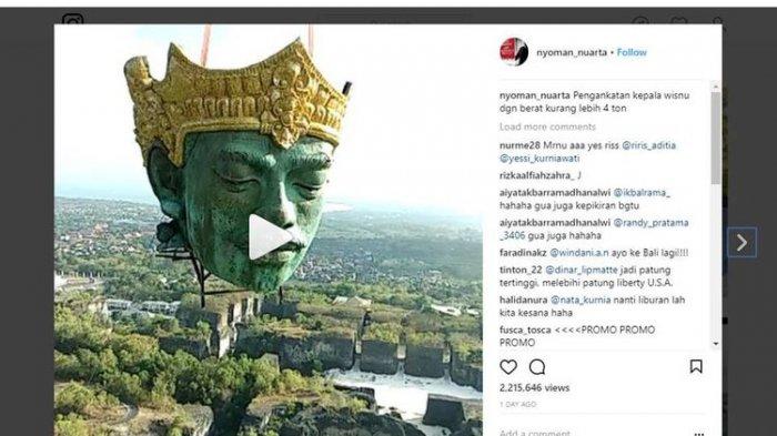 Viral! Video Pemasangan Kepala Patung Wisnu di GWK Ditonton Lebih 2 Juta Kali