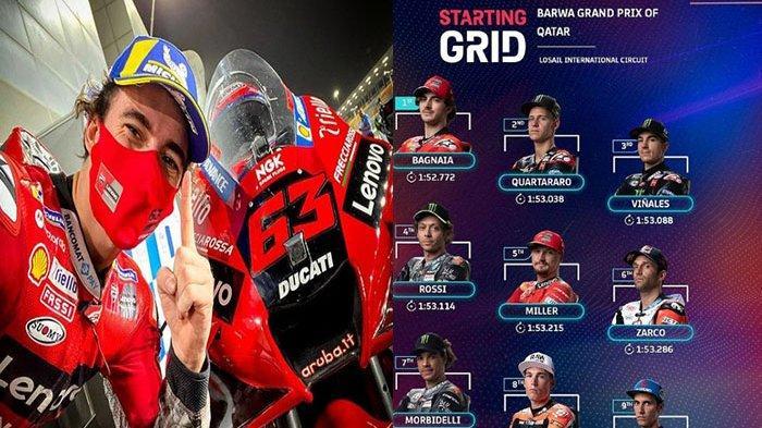 Update Jelang Race dan Grid MotoGP Qatar 2021 Bagnaina Terdepan, Rossi Keempat dan Live Trans7