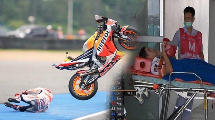 Marc Marquez Dilarikan ke RS Setelah Kecelakaan di Latihan Bebas MotoGP Thailand, Begini Kondisinya