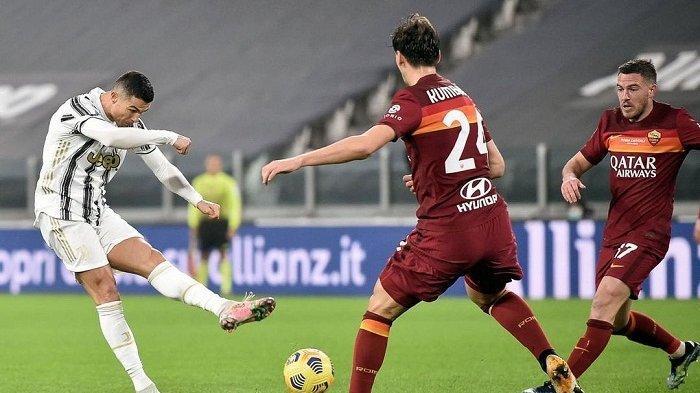 Pemain Juventus Cristiano Ronaldo cetak gol jarak jauh sekaligus menjadi kado spesial ulang tahunnya setelah mempersembahkan tiga poin penuh ke timnya dengan mengalahkan AS Roma, Minggu 7 Februari 2021.