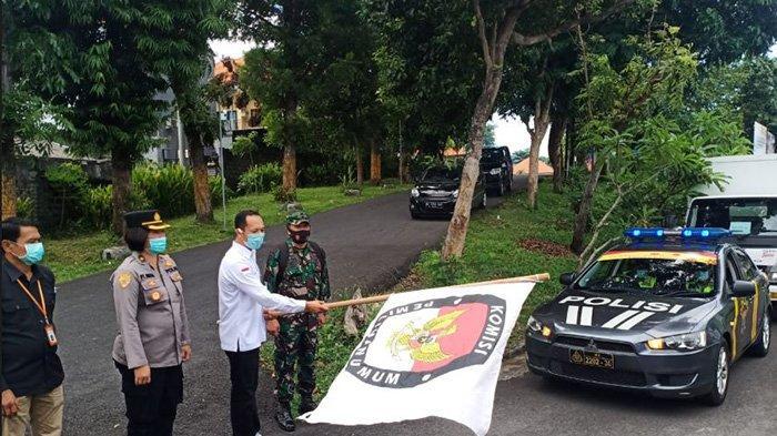 Hari Ini, Pendistribusian Logistik dari KPU Badung, Puluhan Polisi Lakukan Pengawalan