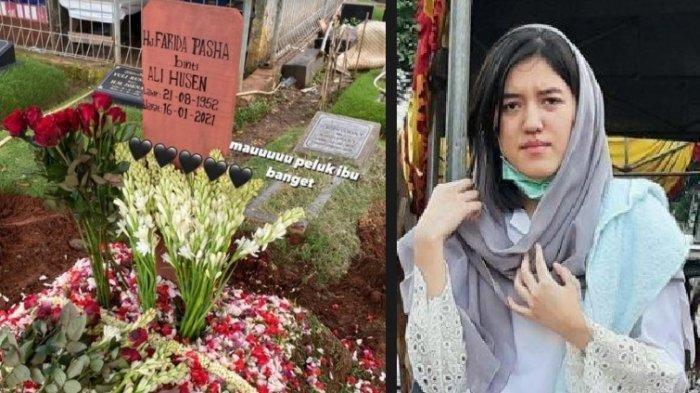 Ify Alyssa Tabur Bunga di Tanah Makam Farida Pasha,