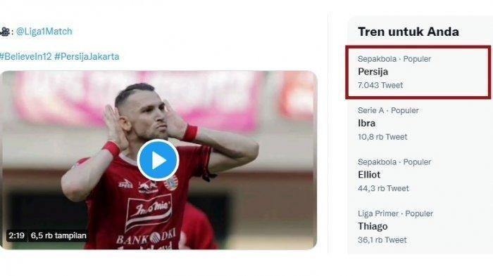 Persija Jakarta trending di Twitter.