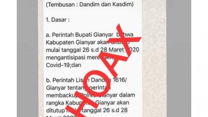 BREAKING NEWS - Tersebar Informasi Hoax Tentang Gianyar Menambah Durasi 'Lockdown'