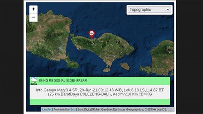 Buleleng Diguncang Gempa Tektonik Bermagnitudo 3,4