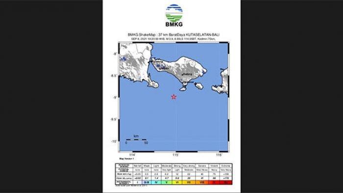 Gempa Bumi Tektonik Magnitudo 3,9 Guncang Kuta Selatan Badung, Benda yang Digantung Bergoyang