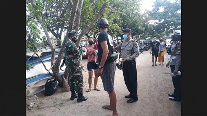 Ramai Pengunjung, Petugas Gabungan Sambangi Pantai Mertasari & Matahari Terbit untuk Ingatkan Prokes