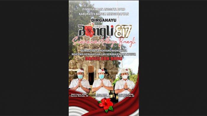 Pimpinan dan Anggota DPRD Bangli mengucapkan Dirgahayu Kabupaten Bangli ke-817