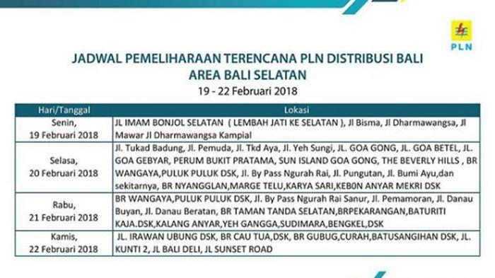 Beberapa Wilayah Bali Selatan Akan Mengalami Pemadaman Listrik Hari Ini Hingga Siang