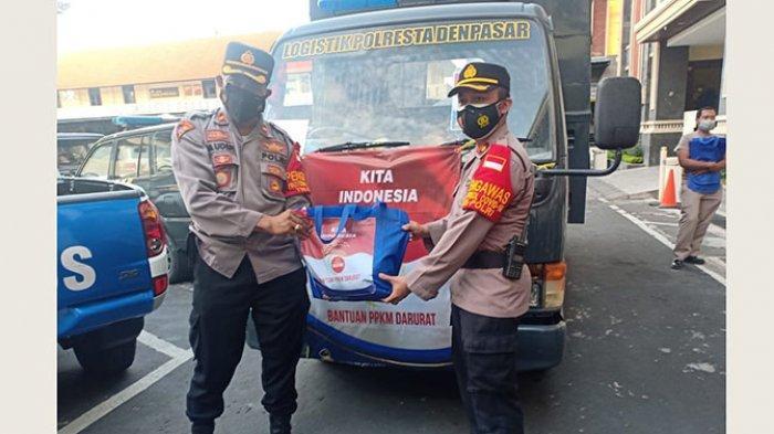 Polresta Denpasar Bagikan 195 Paket Sembako untuk Masyarakat Denpasar