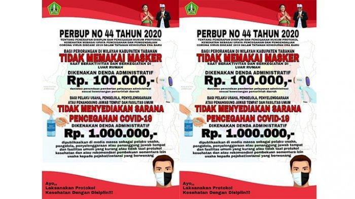 Denda Rp 100 Ribu Tak Pakai Masker Mulai Diterapkan di Tabanan 7 September 2020