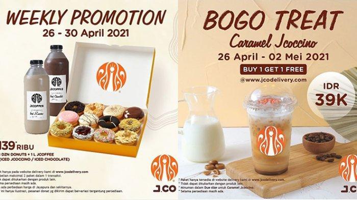 Promo J.CO 30 April 2021, 2 Caramel Jcoccino Rp39.000, 1 Lusin Donat dan 1 Liter J.Coffee Rp139.000