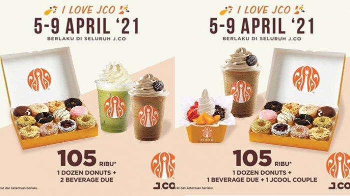 Promo J.CO Hari Ini 7 April 2021, 2 Sachet Kopi Rp19.000, 1 Lusin Donat dan 2 Minuman Rp105.000