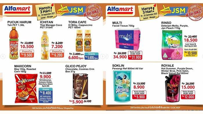 PROMO JSM Alfamart TERBARU 24-26 September 2021: Teh Pucuk Harum 1,36L Rp10.500, Rinso 770g Rp18.500