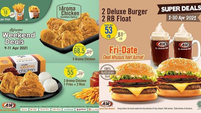 Promo JSM A&W 9-11 April 2021,2 Burger + 2 Float Rp53.000,5 Potong Ayam Cuma Rp68.500