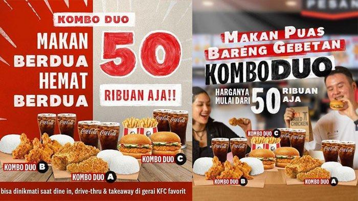 PROMO KFC Hari Ini 3 September 2021, 2 Potong Ayam, 2 Nasi dan 2 Coca Cola Cuma Rp 50 Ribuan
