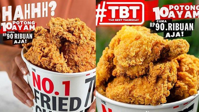 PROMO KFC Hari Ini Kamis 15 Juli 2021, The Best Thursday Hanya Rp 90.000 Dapat 10 Potong Ayam