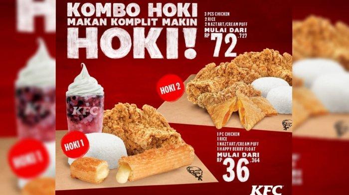 Promo KFC Hari Ini 1 Maret 2021, KFC Kombo Hoki 2 Rp 72.727, Dapat 3 Ayam, 2 Nasi dan 2 Naztart