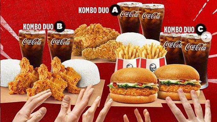 KOMBO DUO! Promo KFC 5 September 2021, 2 Krunchy Burger, 2 French Fries dan 2 Coca-cola Rp 50 Ribuan